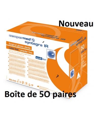 Boîte de 50 paires de Gants chirurgie Non Poudrés Stériles Sempermed Syntegra IR