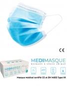 Masques Chirurgicaux Type IIR  Boîte de 50 Médimasque