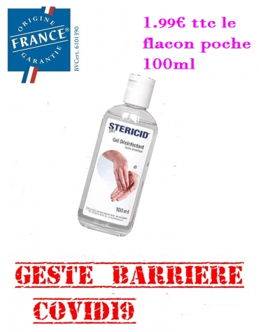 Gel Hydroalcoolique 100ml Flacon de poche