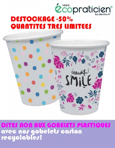 Carton 500 gobelets carton recyclables à motifs