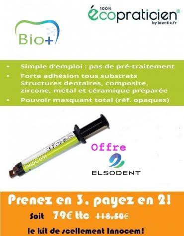 INNOCEM Scellement  définitif  seringue de 5 ml + 10 embouts mélangeurs + 10 embouts intra-oraux